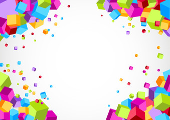 Colorful bright cube corner background