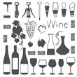 Wine related silhouette icons vector set - 66283525