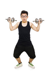 Man with dumbbells isolated on white