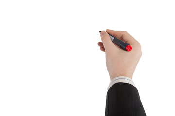 hand draws a marker