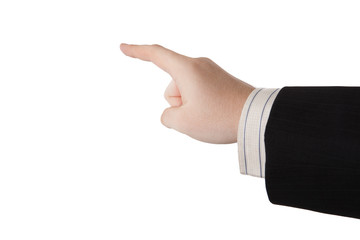 man's hand indicates