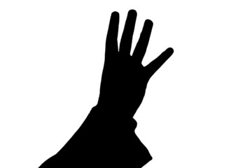 man's hand showing four black