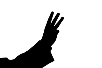 man's hand showing three black