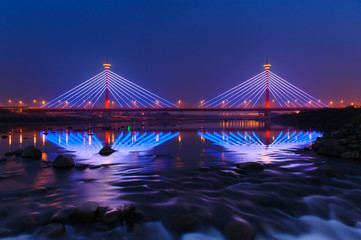 Suspension bridge at night in Miaoli, Taiwan
