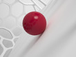 Abstract grid structure with red ball