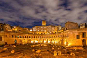 Roman ruines during evening hours in Rome Italy
