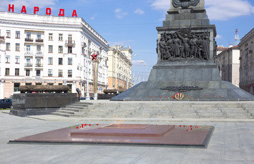 April 11, 2014: Victory square in Minsk, Belarus