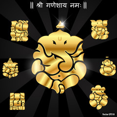 Indian god ganesha, Ganesh idol- vector eps10