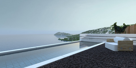 Patio with swimming pool overlooking the ocean