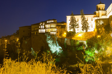 Night view of medieval houses   in Cuenca
