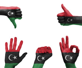 Hand set with the flag of Libya