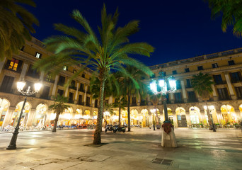 General view of Placa Reial in winter evening. Barcelona