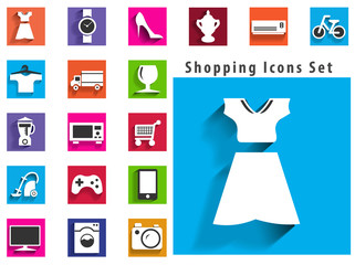 modern flat shopping icons with long shadow effect