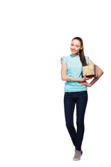 full length portrait of young smiling female college student on