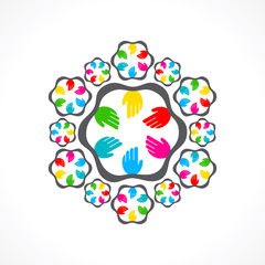 creative design with colorful hand icon