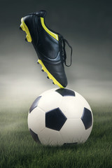 Shoe and soccer ball
