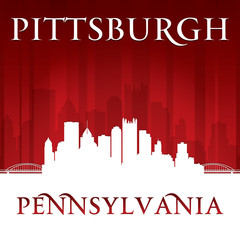 Pittsburgh Pennsylvania city skyline silhouette red background