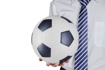 Soccer manager holding a ball 1