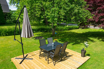 Swedish garden furniture in summer season