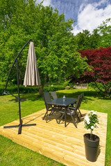 Modern place for garden furniture