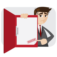 cartoon businessman showing rejected document in folder