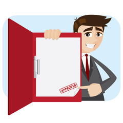 cartoon businessman showing approved document in folder