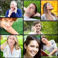 Outdoor portraits of happy people