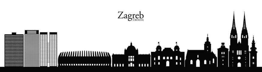 Zagreb skyline silhouette. Zagreb landmarks.