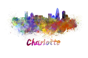 Charlotte skyline in watercolor