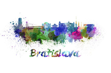 Bratislava skyline in watercolor