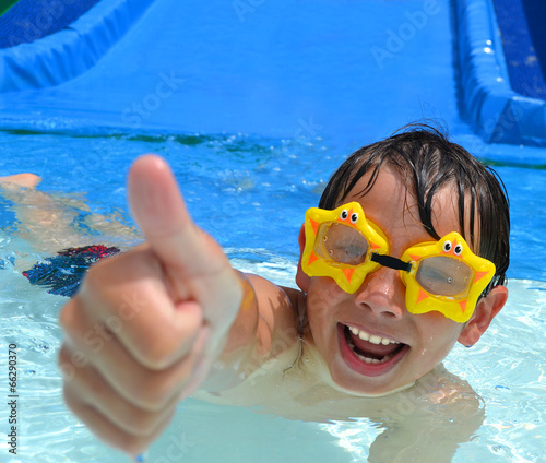 canvas print picture Boy at aqua park