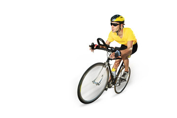Male cyclist riding a bike