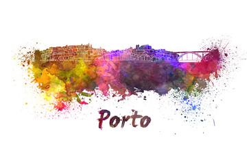 Porto skyline in watercolor