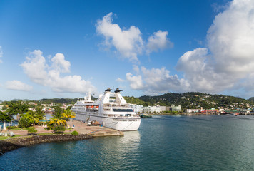 Cruise Ship at Beautiful Tropical Port