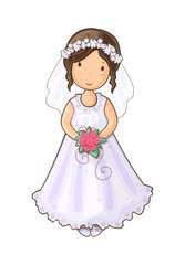 Cartoon girl bride