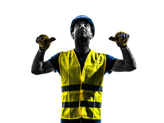 construction worker signaling safety vest retract boom silhouett