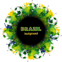 Beautiful Brazil flag concept circle splash grunge card colorful