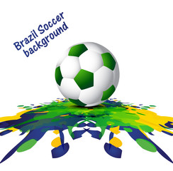 Soccer background with Brazil colors grunge splash colorful vect