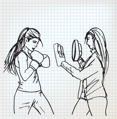Woman boxer sketch illustration