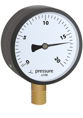 Vector format of analogue metal manometer with brass thread