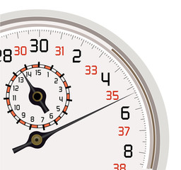 Vector format of analog stopwatch quarter cut out