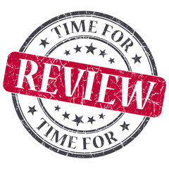 Time for review red grunge textured vintage isolated stamp