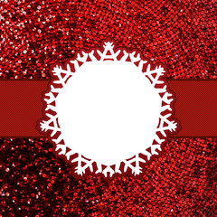 Red christmas card with glitter light. EPS 8