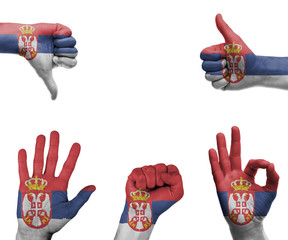 Hand set with the flag of Serbia