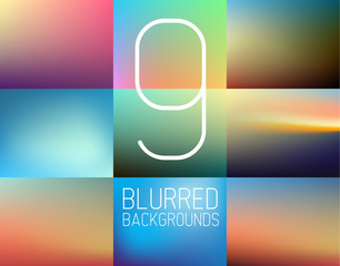 Set of 9 vector Abstract blurred  background