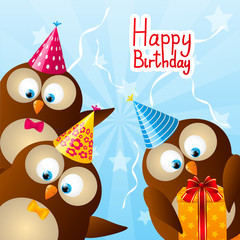 Birthday card with funny owls
