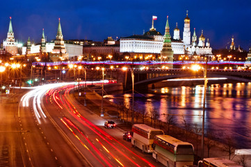 Moscow Sightseeing night  river view