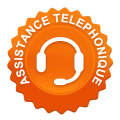 assistance téléphonique sur bouton web denté orange