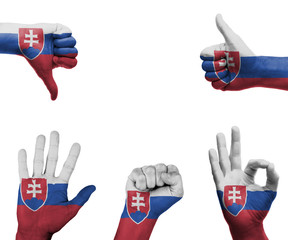 Hand set with the flag of Slovakia