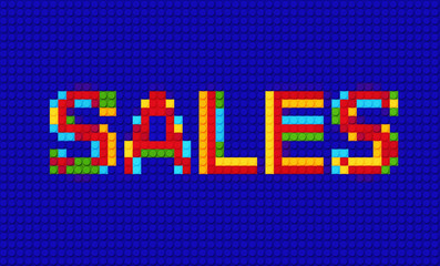SALE Lego - Isolated wording constructed from bricks